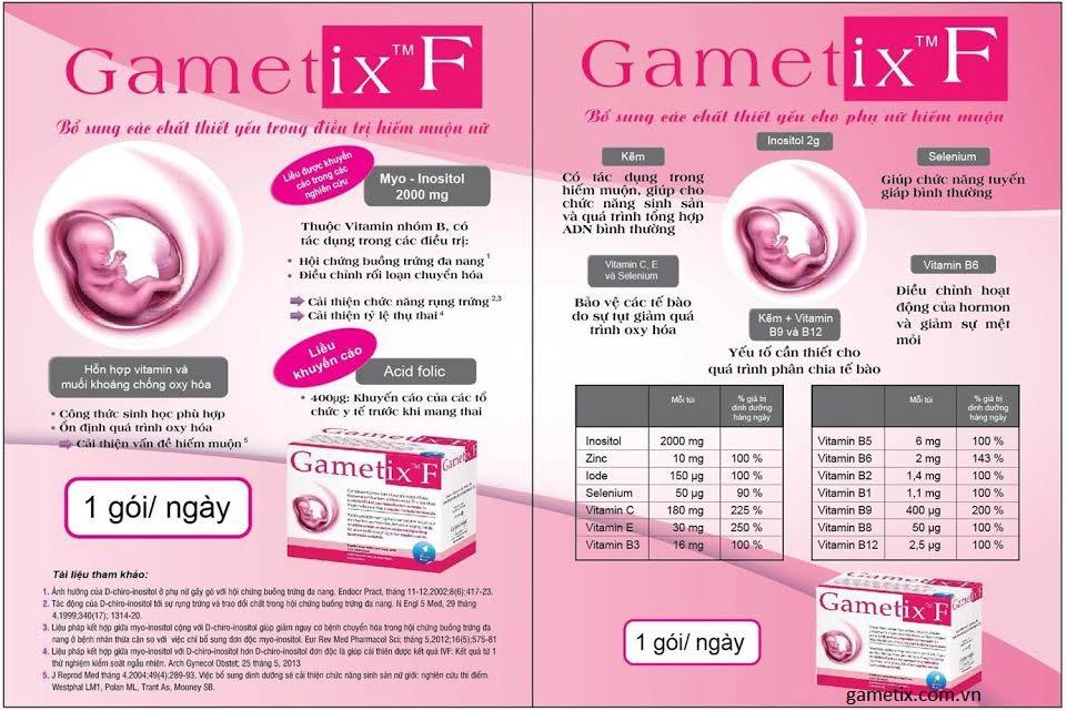 Chi tiết các thành phần của gametix F